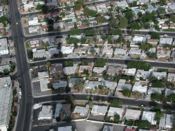 """Neighborhoods with the shadow of the """"Stratosphere""""."""