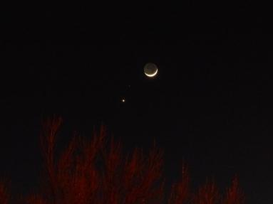 Moon, Mars, Venus, in a alignment, N.Calif, Feb. 21, 2015
